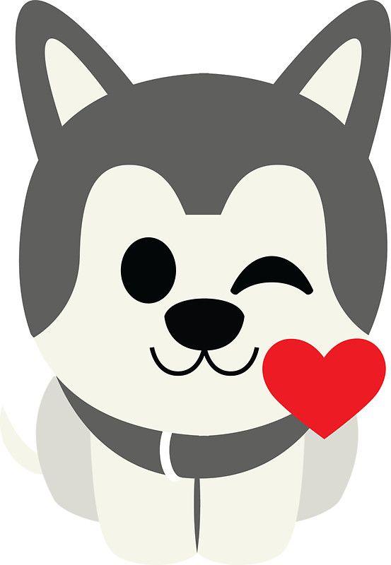 Siberian Husky Emoji Flirting And Blowing Kiss Cute Dog Drawing