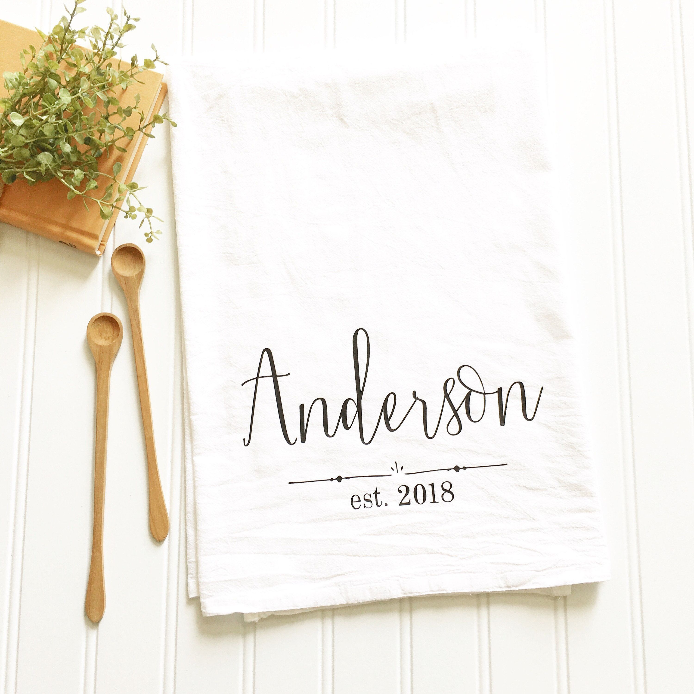 Custom Kitchen Towel Personalized Tea Towel Wedding Tea Towel Gift