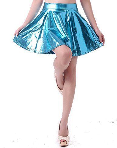 0d35012ca HDE Women's Shiny Liquid Metallic Wet Look Flared Pleated Skater Skirt at  Amazon Women's Clothing store: