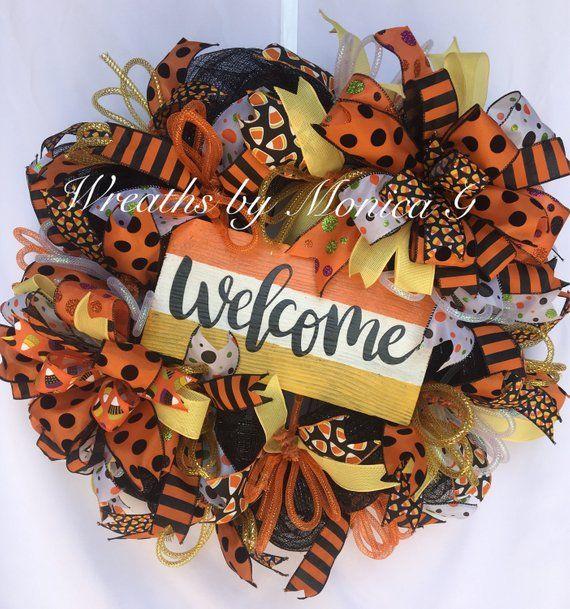 Deco Mesh Halloween Wreath, Halloween Wreath, Halloween Decor