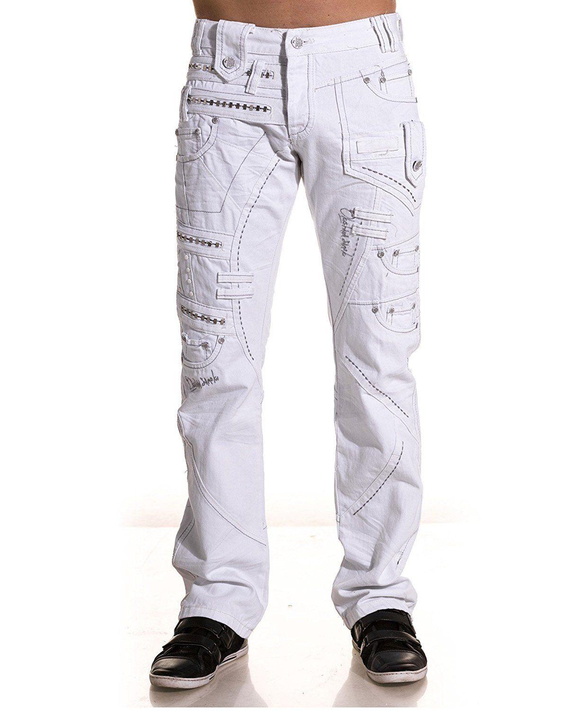Japrag - Jeans homme double ceinture blanc - Couleur   Blanc Taille   Fr 44  US c3d089d150