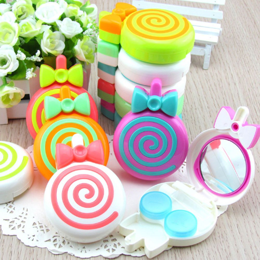 Cute Lollipop Travel Contact Lens Case Soak Box Holder W Mirror Eye Care Kit