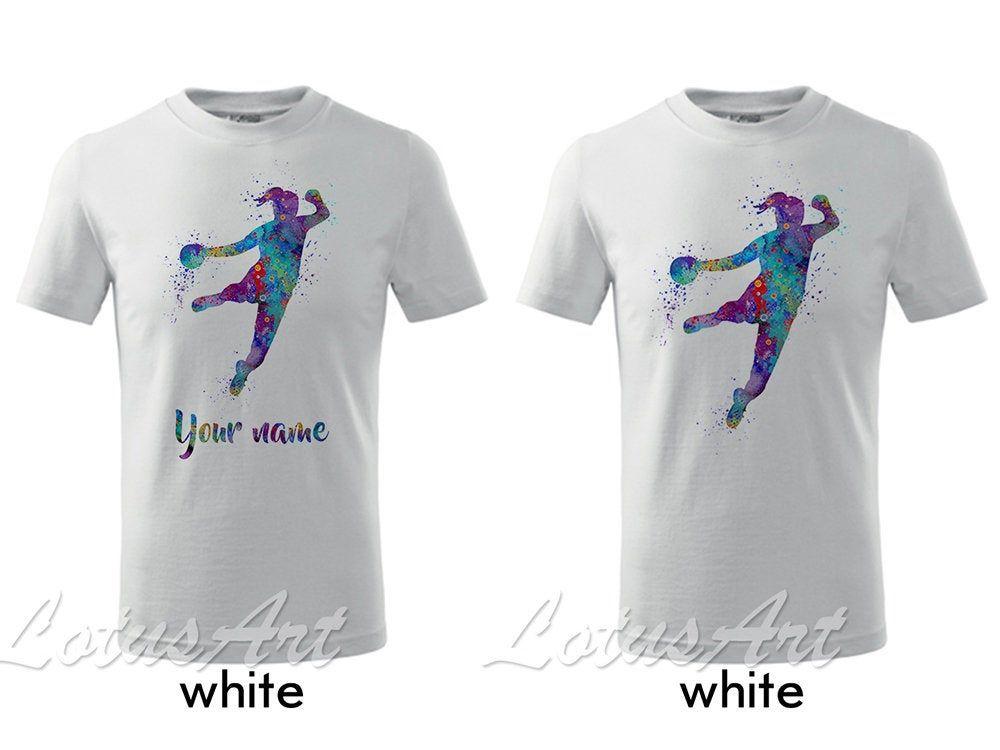 Girl Handball Kids T Shirt Watercolor Painting Sports Art Children