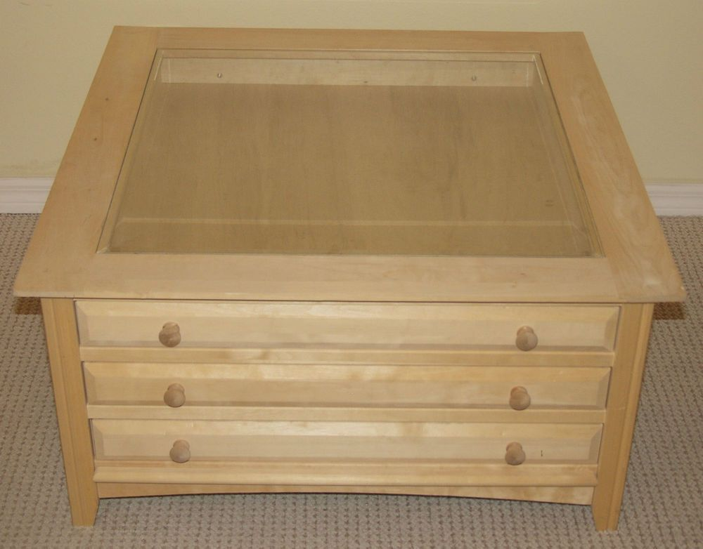 Unfinished Curio Coffee Table 3 Drawers 35 X35 Solid Wood