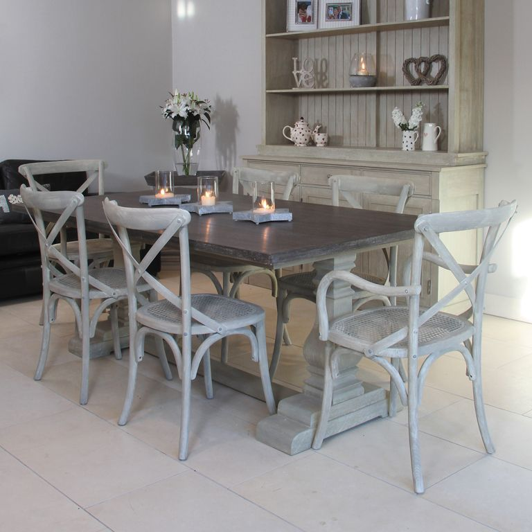 refectory style table with cross back chairs available from
