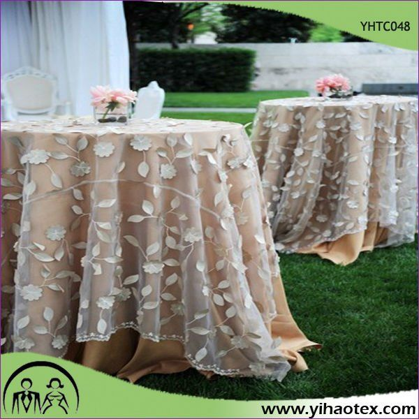 Lace Embroidery Organza Table Overlay For Wedding