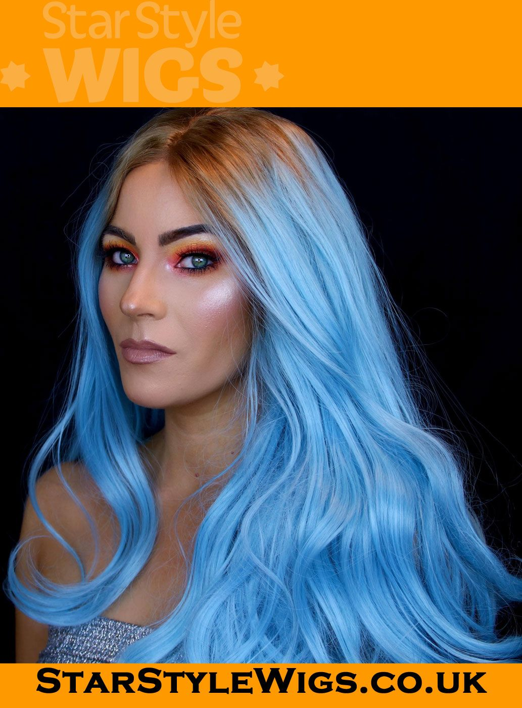 Blue Lace Front Wig by Star Style Wigs. Dazzling pastel blue lace frontal  as worn by  reallymili to complement her rainbow eye makeup look. 4d7a9838141f