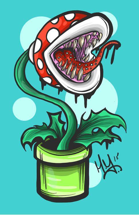Drawing Plant Super Mario Piranha