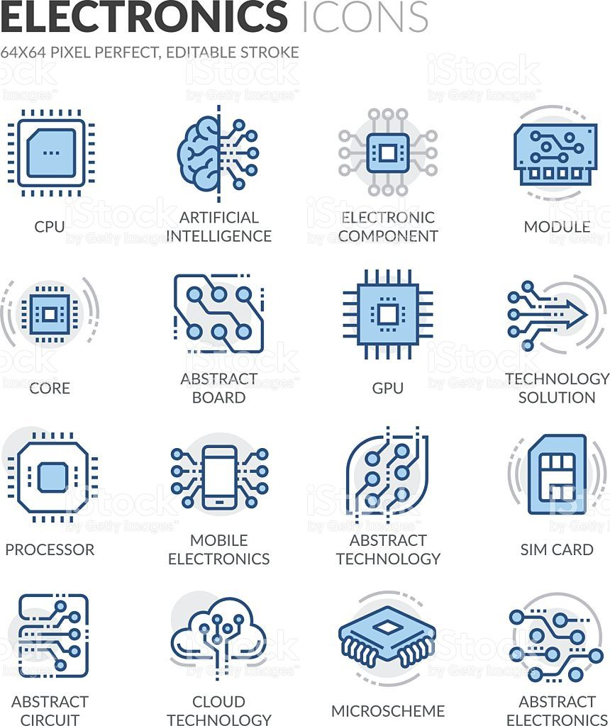 Simple Set Of Electronics Related Color Vector Line Icons Contains Electronics Icon Color Vector Line Icon