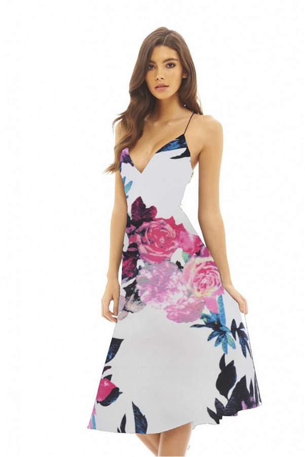 Floral Bottom Print Skater Dress - AX Paris