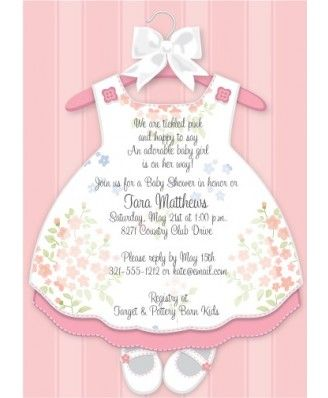 1c47702e122c8 Baby Girl Dress Baby Shower Invitations