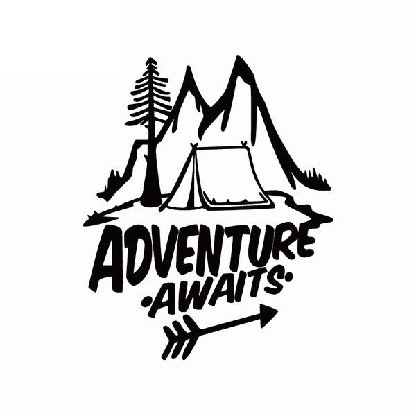 15CM*13CM Adventure Awaits Vinyl Car Sticker Pine Tree Travel Mountains Car Decal 6 Colors