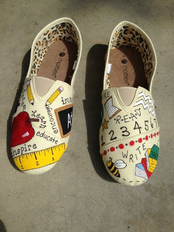 22c16f84f2ae1 Custom Teacher Shoes by MissJonesCrafts on Etsy | gift ideas ...