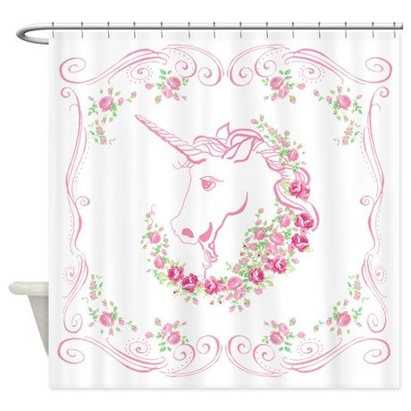 Unicorn and Roses Shower Curtain on CafePress.com