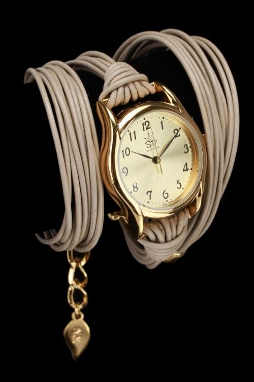 Sara Designs Leather Wrap Watch In Beige
