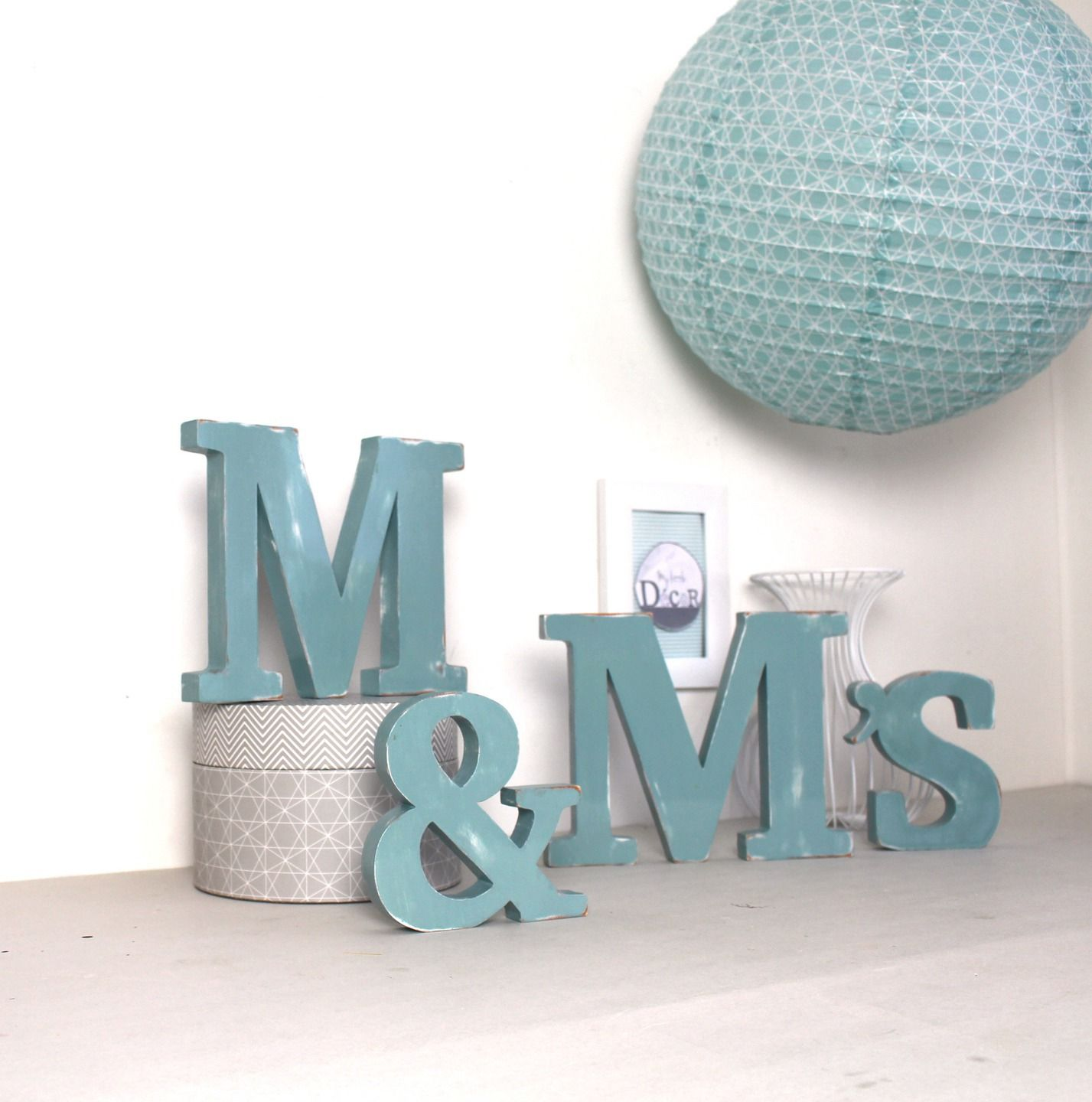lettres en bois m m 39 s poser bleu baltique mariage. Black Bedroom Furniture Sets. Home Design Ideas