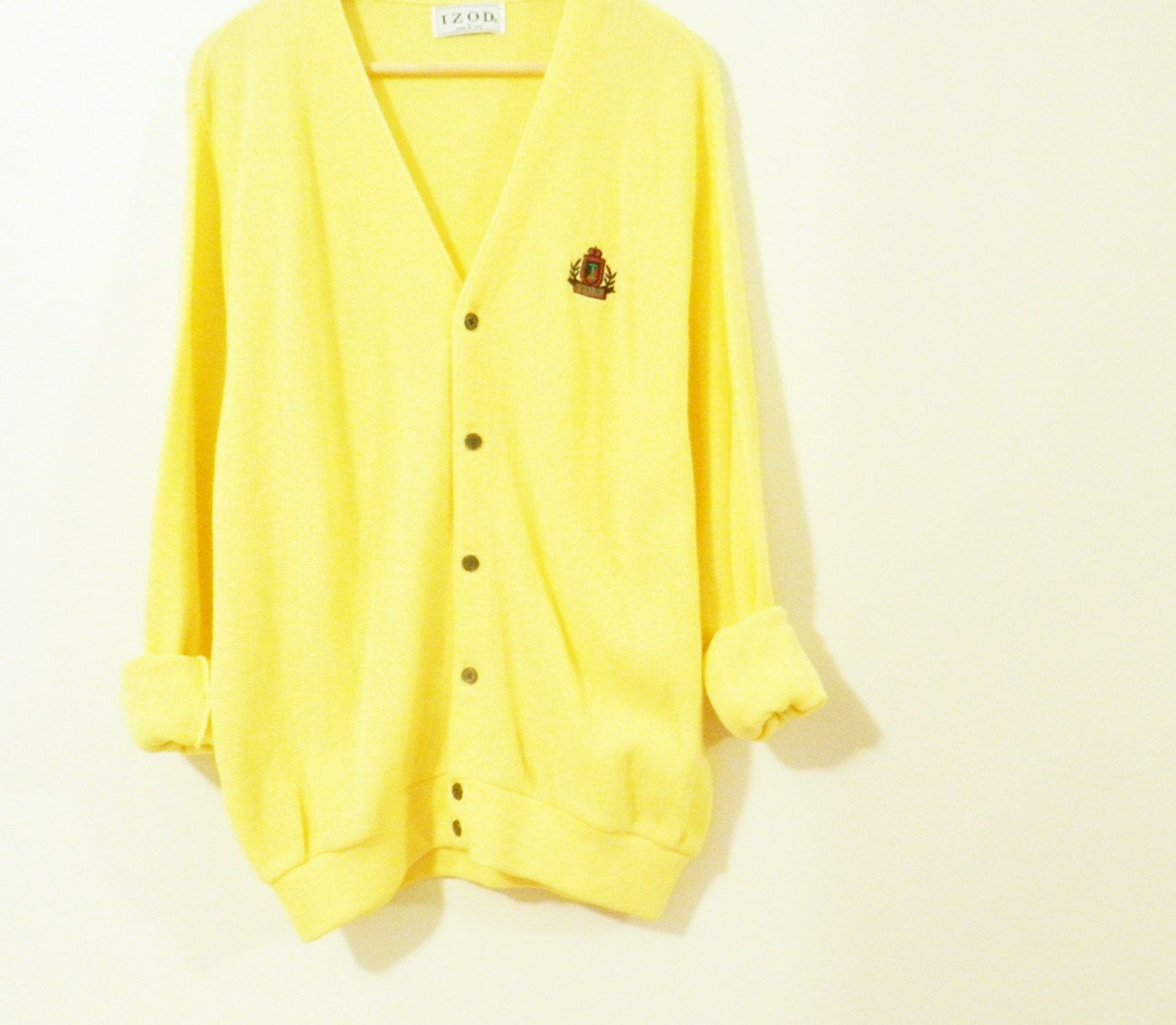 986a1346db15 RESERVED FOR SARAH-Lemon Yellow Vintage Men s Cardigan   Slouchy ...