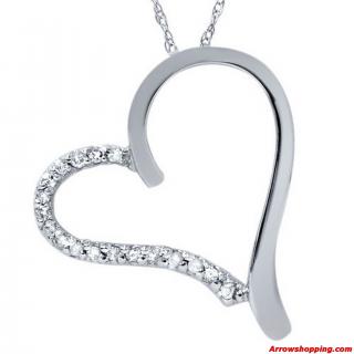 Arrow Diamond Heart Shape Pendant Necklace White Gold – 987098