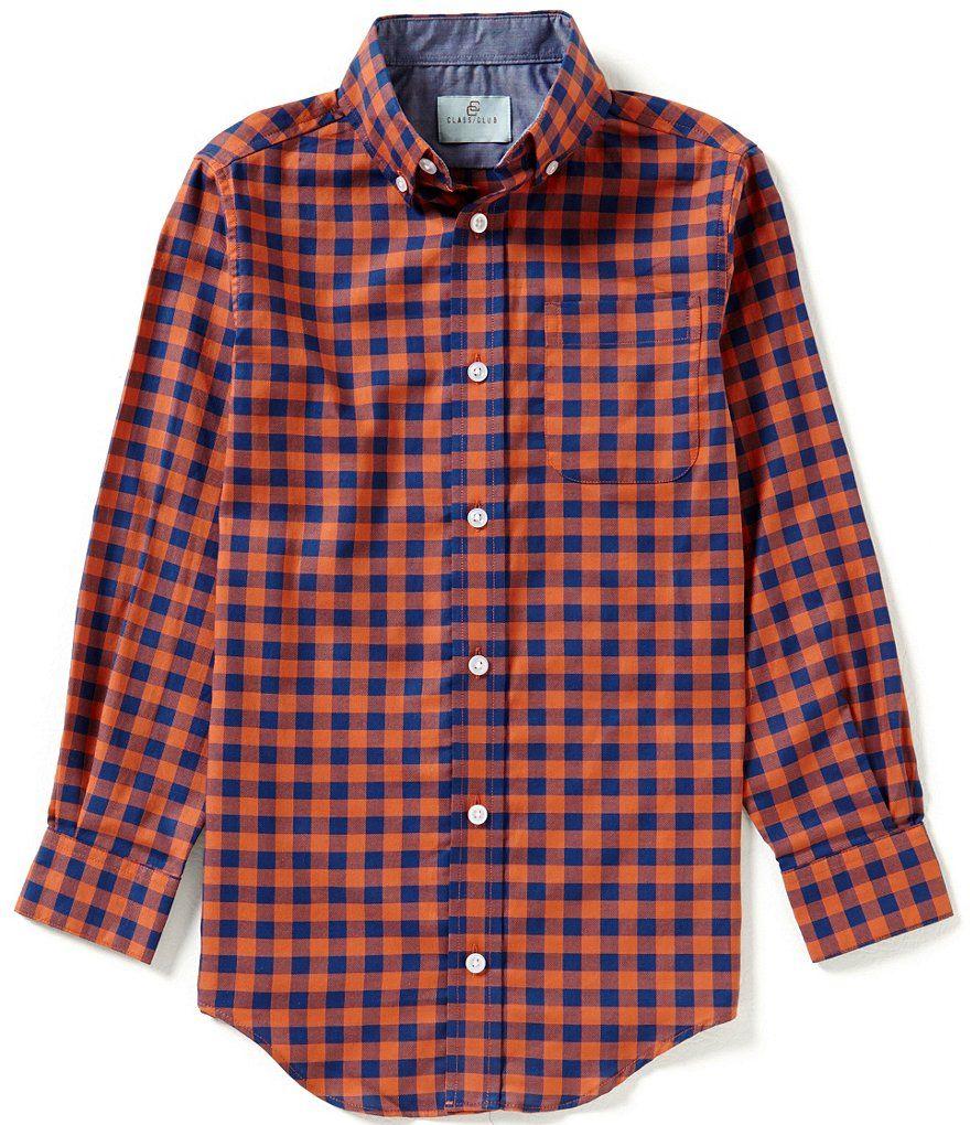 c15d8ad63481 Class Club Big Boys 8-20 Checked Button-Front Long-Sleeve Shirt ...