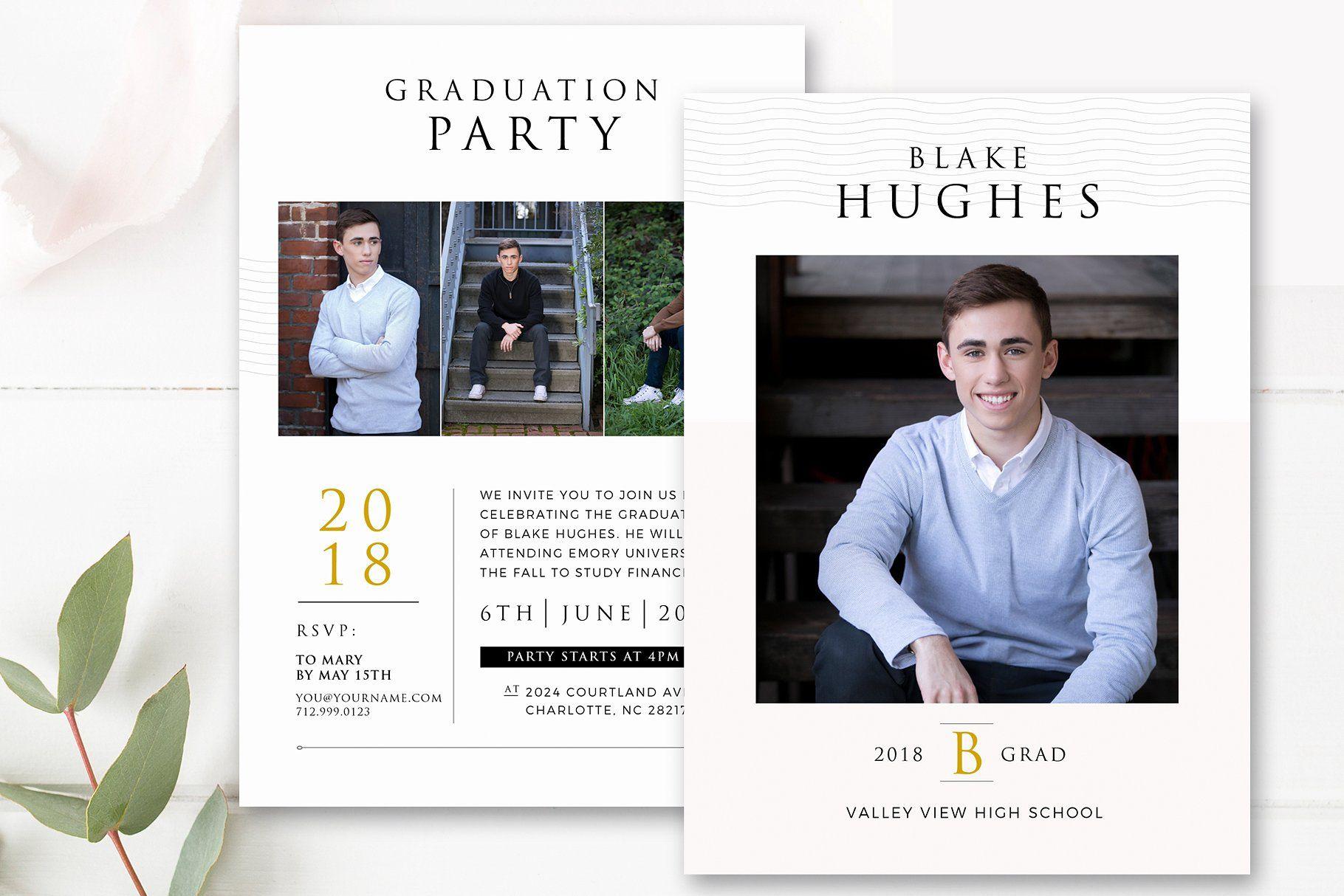 Guys Graduation Invitation Template Backgroundcolorscustomizeelements