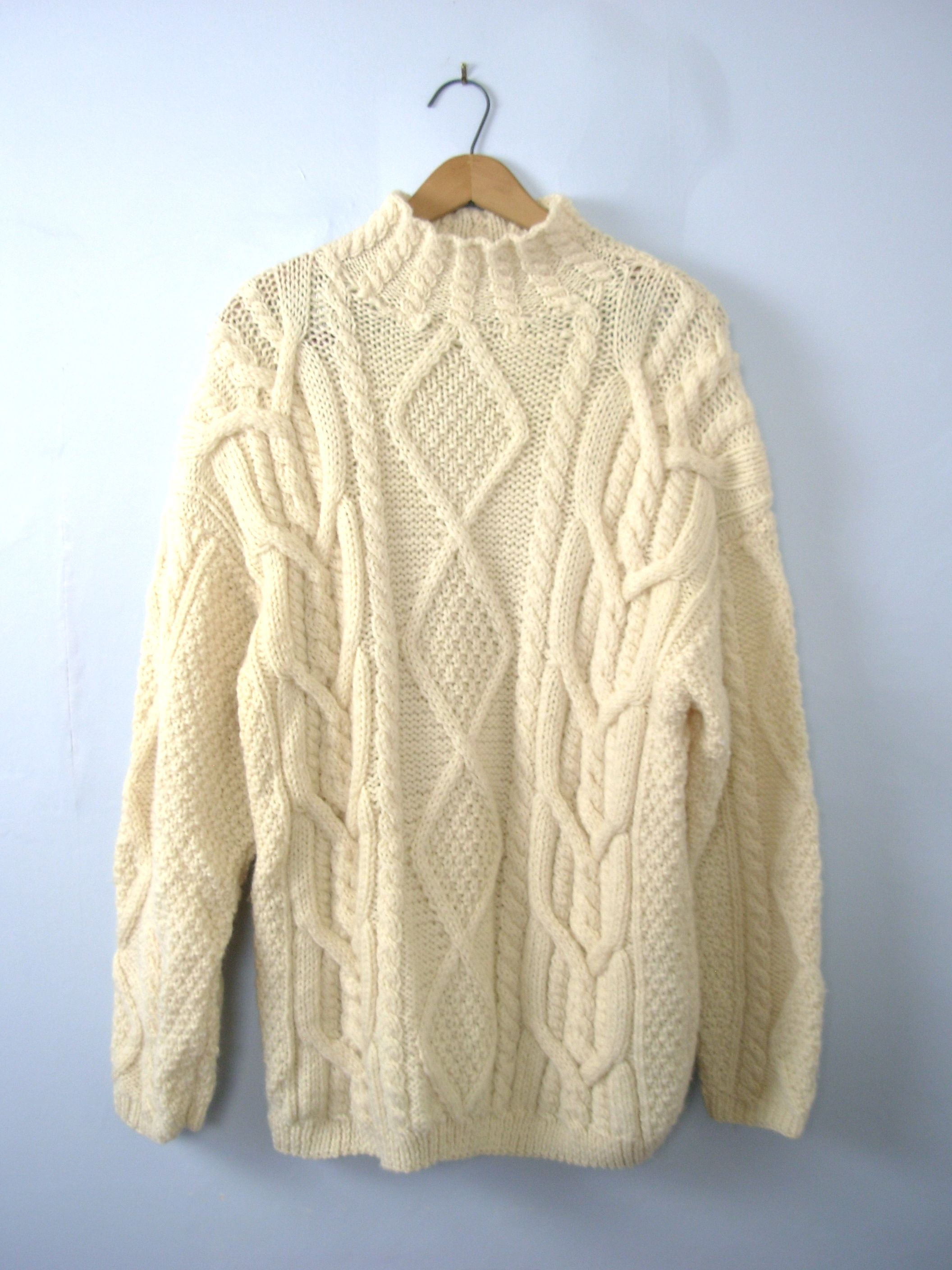 54591b1214a03f One vintage 1980's off white chunky wool cable knit sweater, fisherman's  sweater, women's size large - Mock turtleneck. - Dropped shoulder seams.