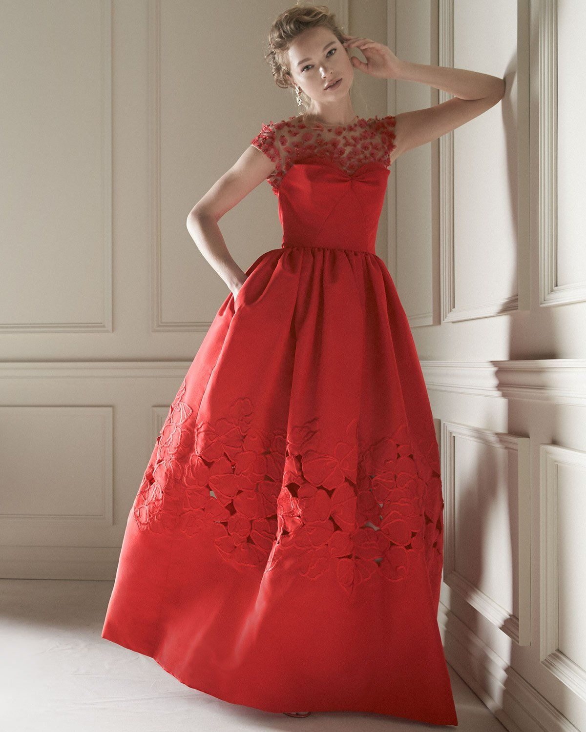 Elegant Embroidery Embellishment Ball Gown Traditional: Oscar De La Renta Floral-Embellished Ball Gown, Cardinal