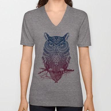 Unisex V-Neck featuring Evening Warrior Owl by Rachel Caldwell