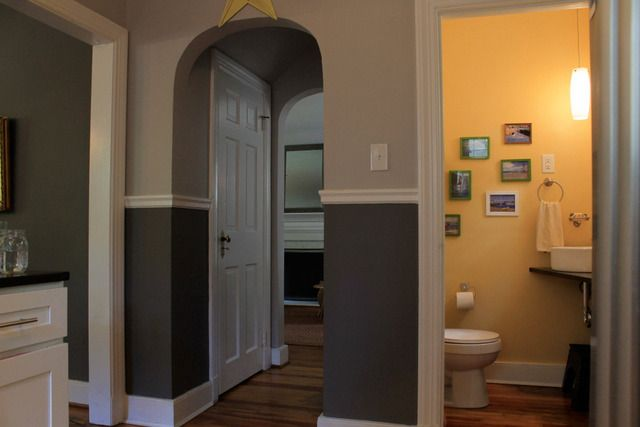 Best Two Tone Paint W White Chair Rail Family Room Grey 400 x 300