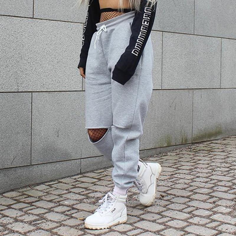 Grey Split Knee Joggers In 2019 Fashion Baggy Trousers