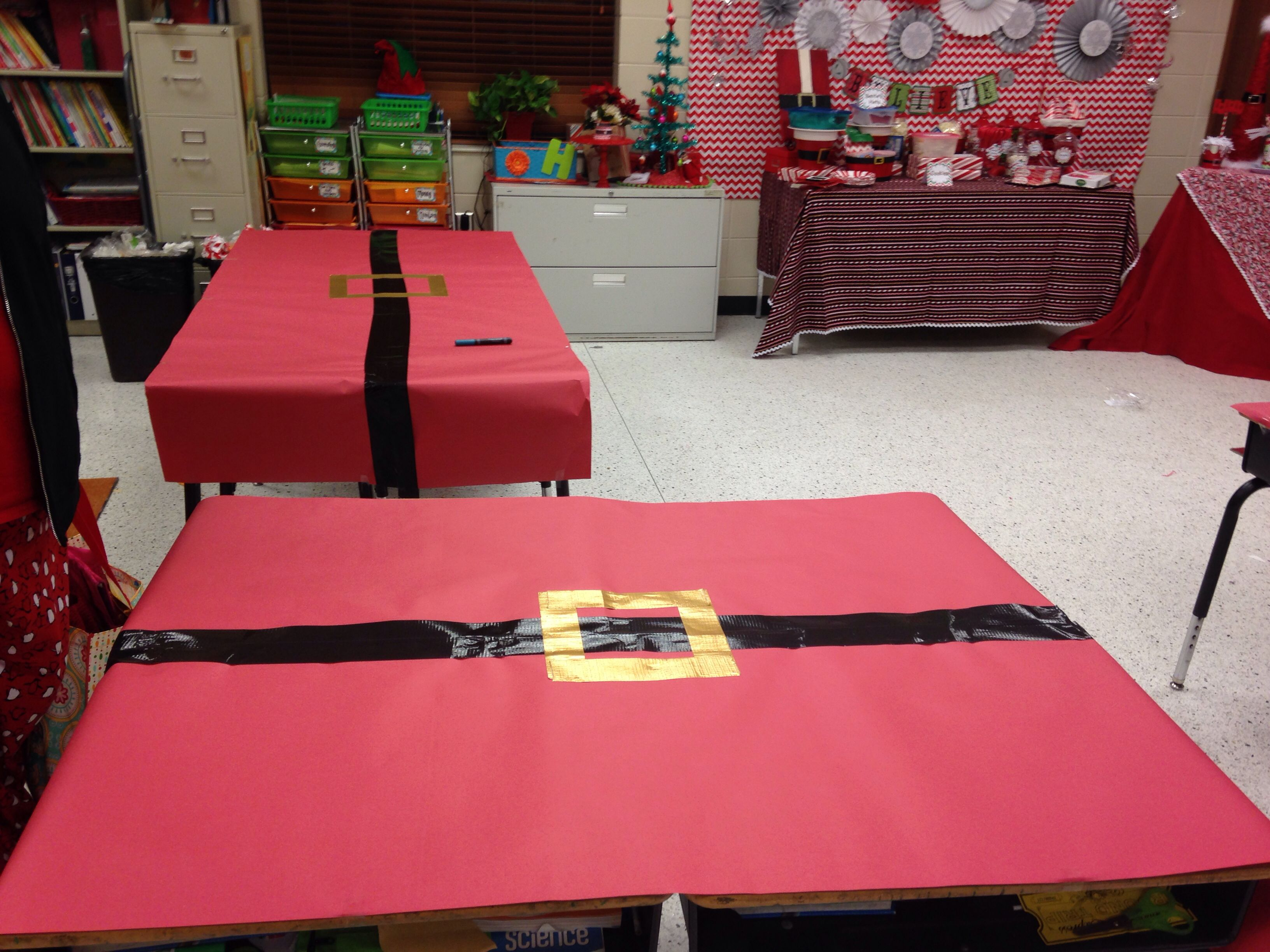 classroom tables covered in butcher paper and belt done with duck