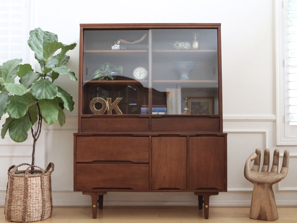 Name Brand Stanley: Vintage Mid Century Modern Hutch China Cabinet ...