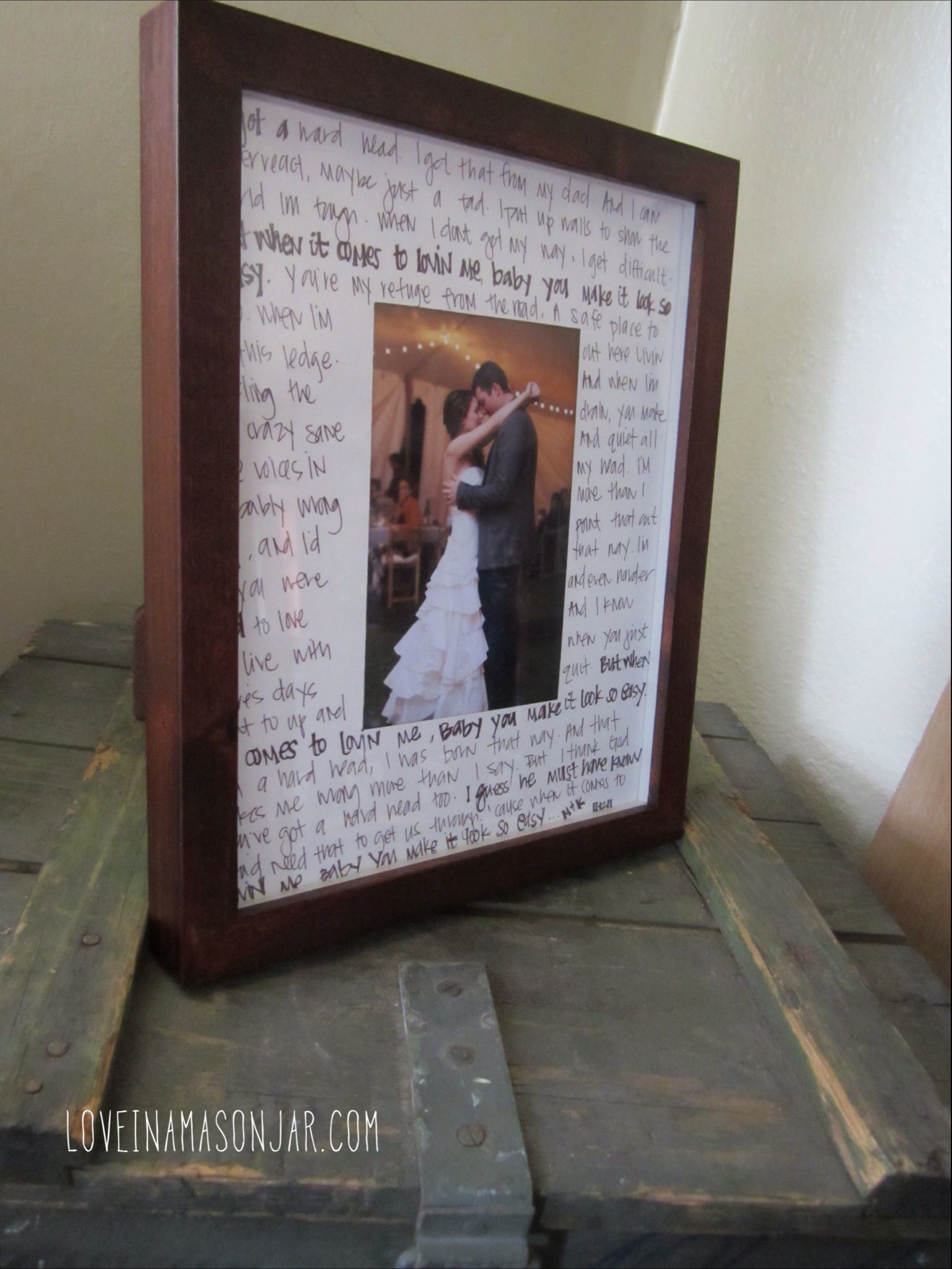 First Dance Frame With Lyrics All You Need Is