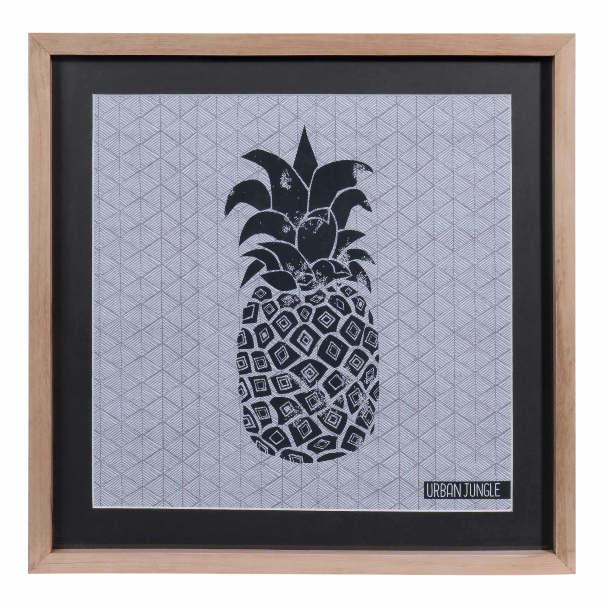 Tableau ananas en bois et verre 28 x 38 cm urban maisons du monde pineapple ananas - Ananas maison du monde ...