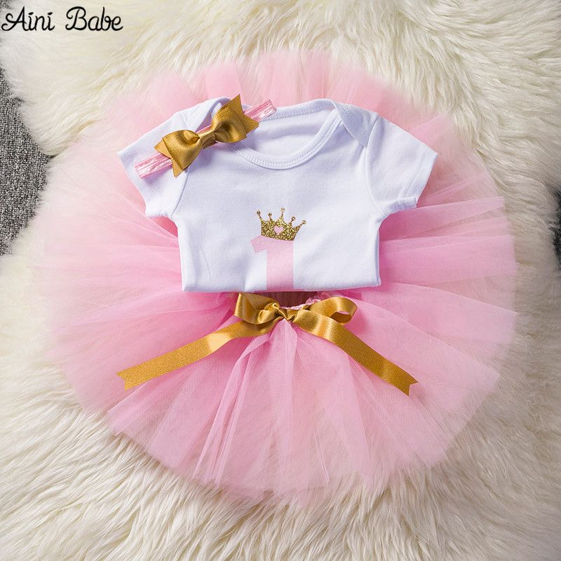 Aliexpress Com Buy Aini Babe Baby Girl 1st Birthday Outfits One