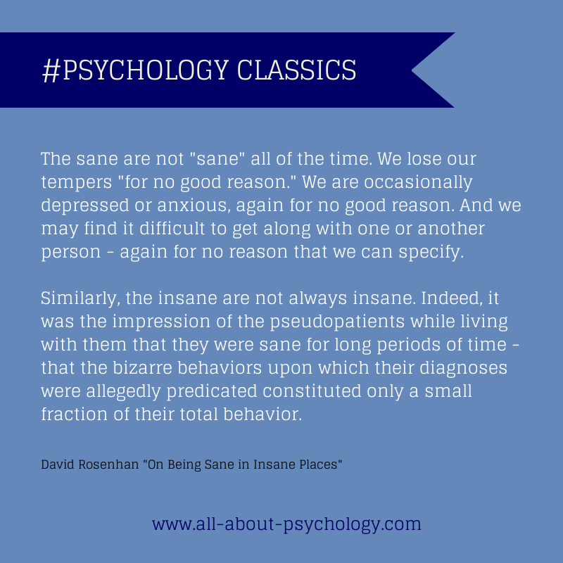 "Quote from David Rosenhan's classic study ""On Being Sane"