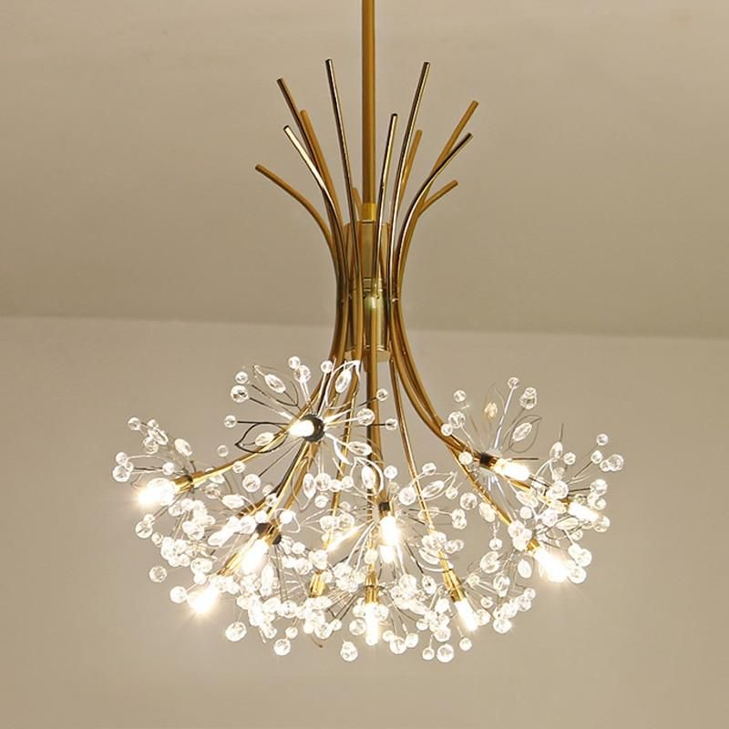 Modern Art Deco Led Crystal Hardware Chandelier Dandelion Golden Hanging Lamps Decorative Light Fixture Lighting Led Home Lights Beleuchtung