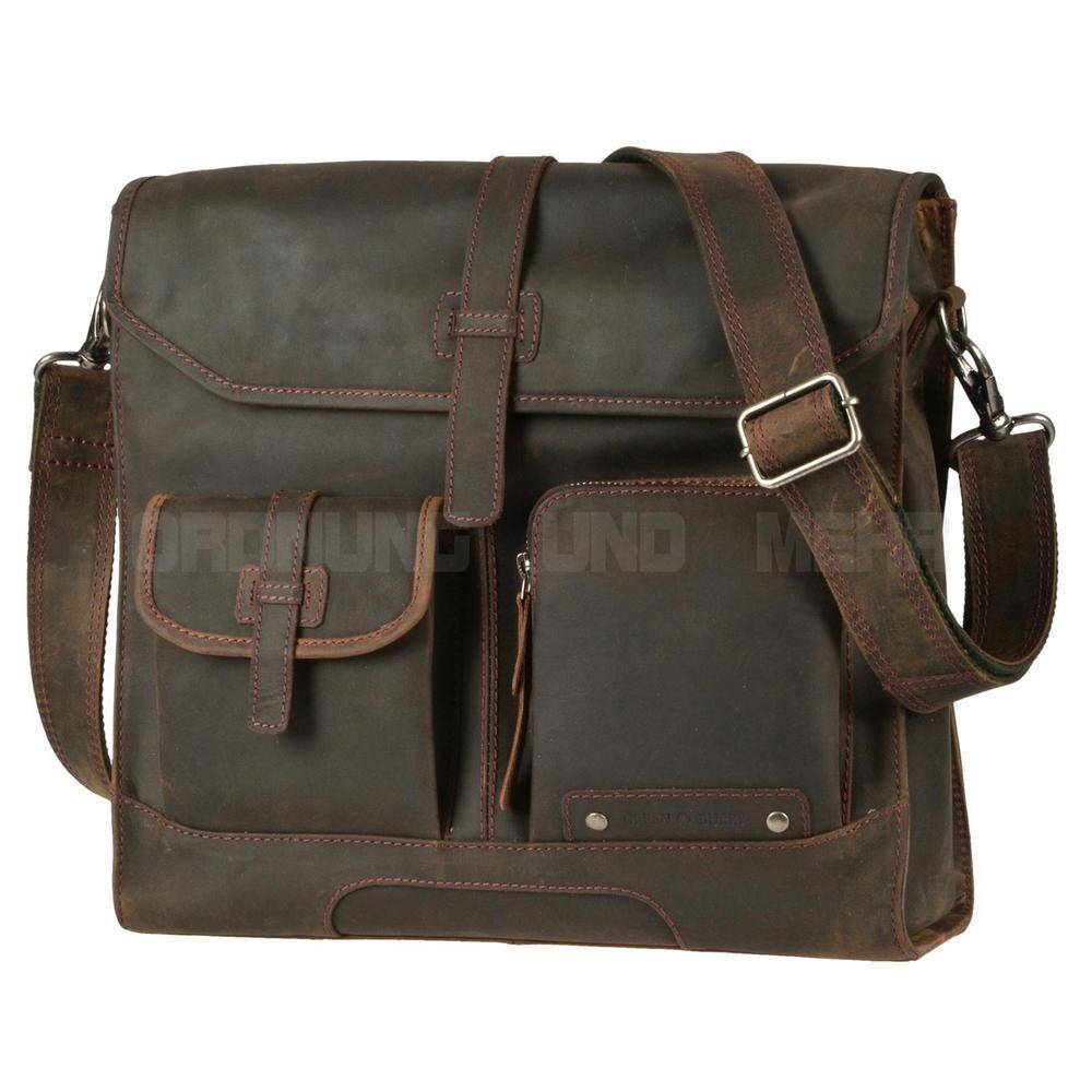 cb962806f9e48 Greenburry Umhängetasche Leder Herrentasche Messenger Vintage Schultertasche