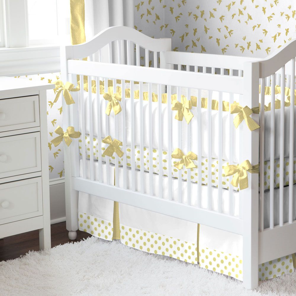 pure gold dot crib bedding  carousel designs pure gold this  - girl baby crib bedding pure gold dot by carouseldesignsshop