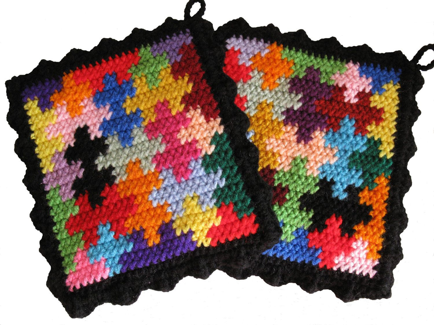 Crochet Inspiration ~ Puzzle Pot Holders. {afghan or scarf idea ...