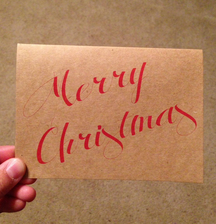 merry christmas card christmas card merry red cursive typography kraft 395