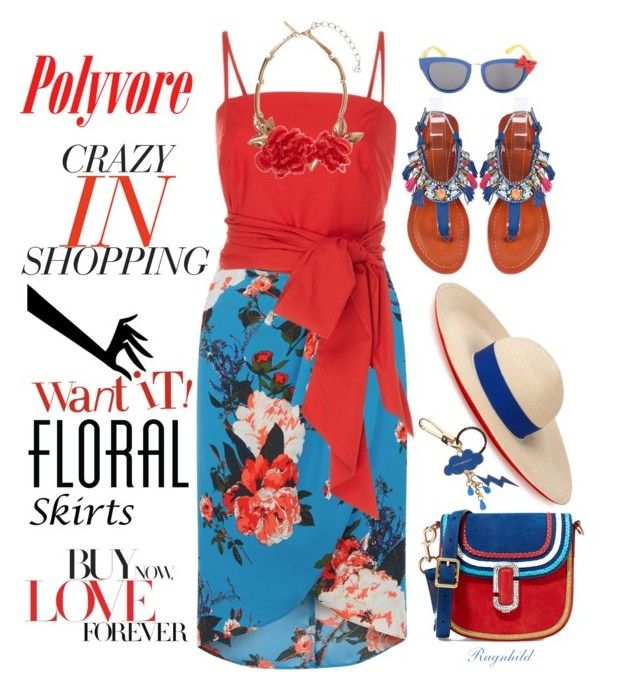 """The Perfect Summer Floral Skirt"" by ragnh-mjos ❤ liked on Polyvore featuring Oasis, MDS Stripes, Oscar de la Renta, Marc Jacobs, Eugenia Kim, Disney, Burberry and daria"