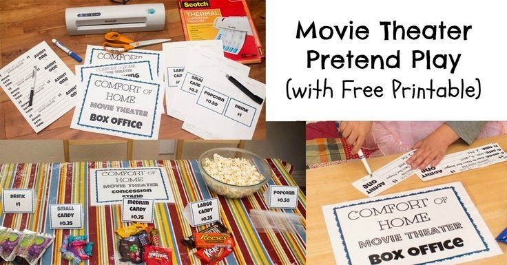 Free printable movie theater pretend play material