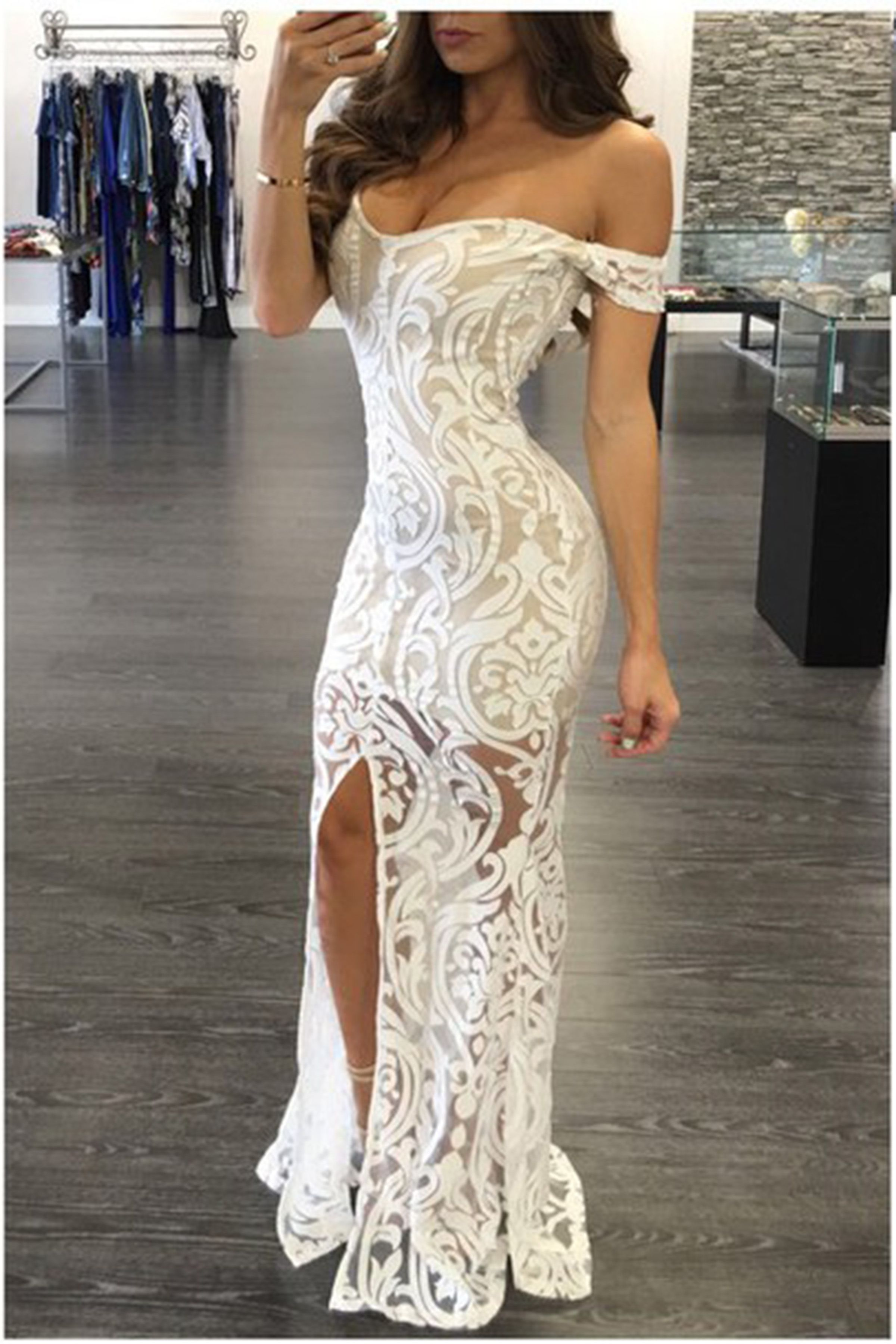 Lace prom dress offshoulder prom dress elegant white lace long