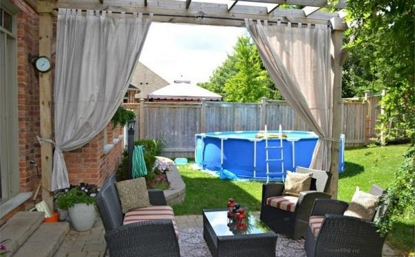 Pool Privacy Curtains curtains pool house wooden pergola brick lawn garden furniture