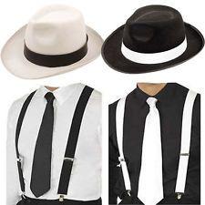 920e3319e998e1 ADULT GANGSTER DELUXE TRILBY HAT BRACES TIE 1920'S GATSBY BUGSY MALONE AL  CAPONE