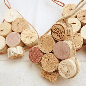 Put a cork in it! Recycle your wine corks into these stacked bundles for a great Christmas ornament. Just wrap a piece of twine or wire around the corks to keep the tree together and make it easy to hang.