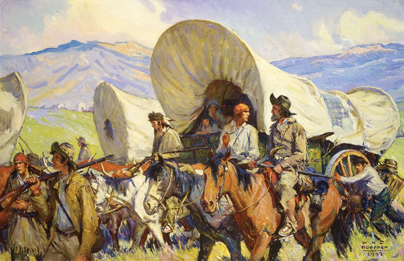 THE OREGON TRAIL PIONEER US HISTORY OIL PAINTING ART POSTER PRINT ON REAL CANVAS