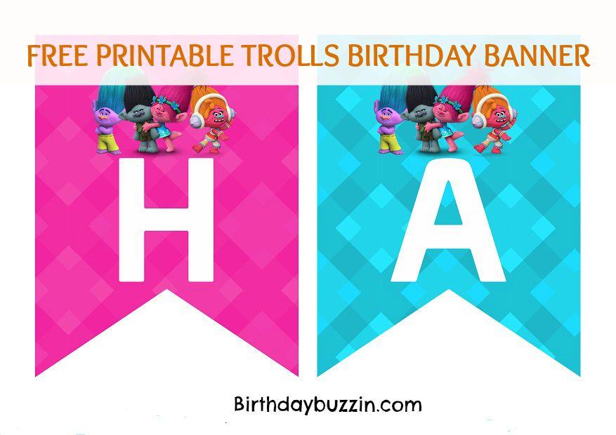 Free Printable Trolls Birthday Banner Birthday Buzzin Happy Birthday Banner Printable Trolls Birthday Happy Birthday Banner Printable Free