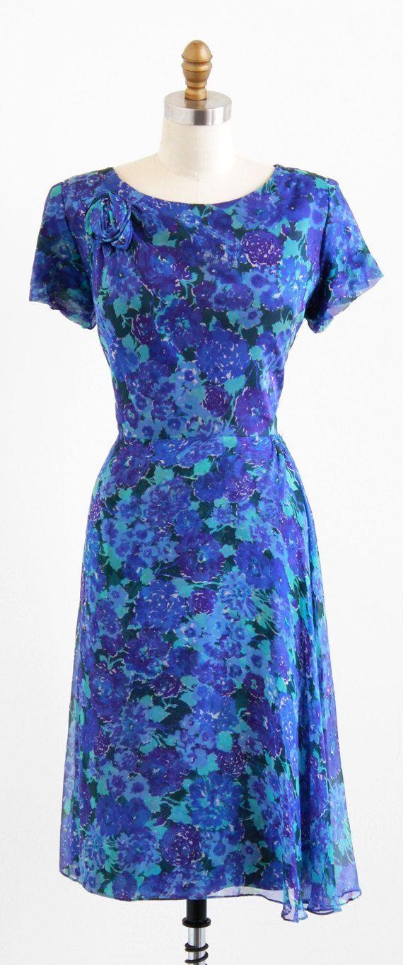 vintage 1960s plus size dress  50s plus size dress  Blue Floral Silk Chiffon Dress vintage 1960s plus size dress  50s plus size dress  Blue Floral Silk Chiffon Dress