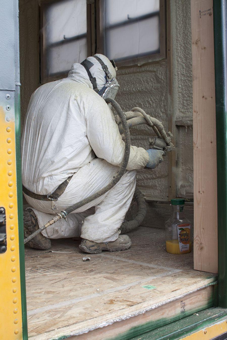 spray foam insulation, bus conversion, denver, colorado